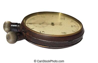 viejo, cronómetro, aislado, blanco