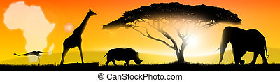 Illustration african landscape - Illustration of an african...