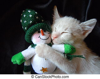 kitten cuddling with snowman toy - little kitten sleeping...
