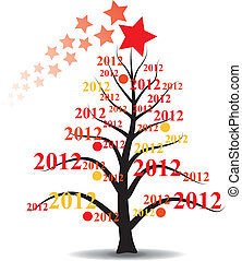 xmas tree with 2012 year