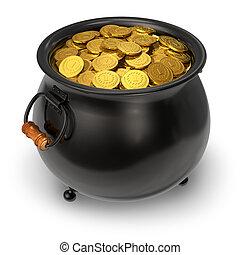 pretas, pote, cheio, Ouro, moedas