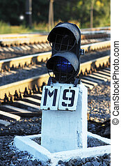 semaphore - Railway signal on the semaphore showing a blue...