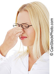 Young woman with sinus pain