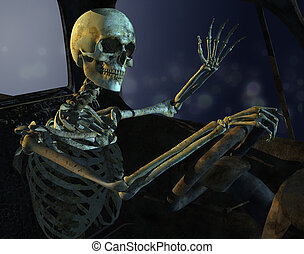 Midnight Drive Skeleton - A skeleton drives a old rusty...