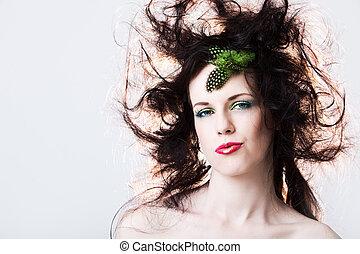cabelo, Sujo, mulher, atraente, Retrato