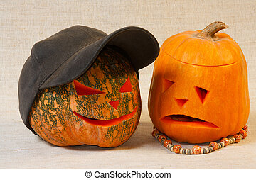 The sad and cheerful halloween pumpkin from canvas...