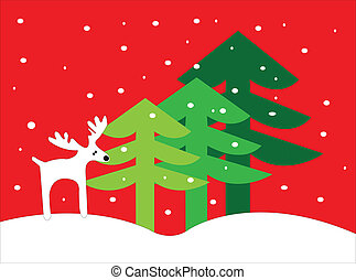 Deer Christmas - Deer trees and snow christmas card