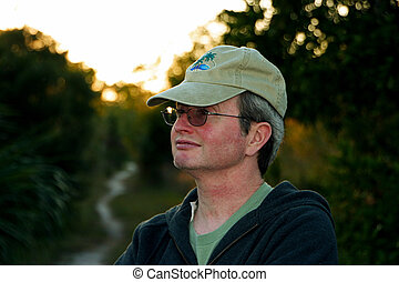 Middleage Man  - Portrait Of Middleage Man on Dusk Trail