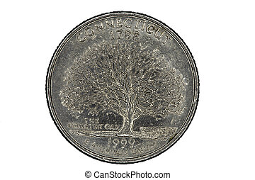 US Quarter for Connecticut State Closeup Tails Side -...
