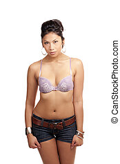 Attractive Pacific Islander Woman bra and shorts