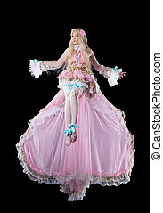 Young woman in fary-tale doll cosplay costume fly