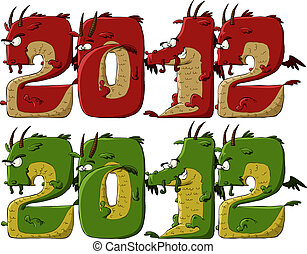 Dragon 2012 - New 2012 dragon on a white background, vector