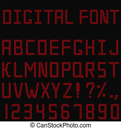 Vector Red Digital Font - Vector digital font made of red...