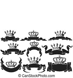 Set of ribbons with crowns