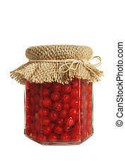 Canned red currant berries in jar