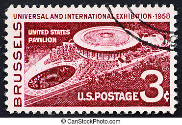 Postage stamp USA 1958 U.S. pavilion at Brussels Fair -...