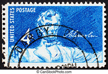 Postage stamp USA 1958 Statue of a seated Lincoln - UNITED...