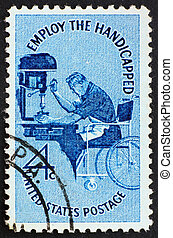 Postage stamp USA 1960 Man in wheelchair