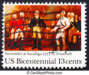 Postage stamp USA 1977 Surrender of Burgoyne at Saratoga -...