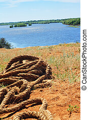The big rope in sunny rivers shore
