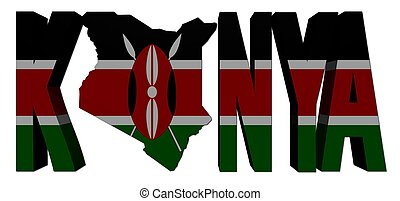 Kenya map text with flag illustration