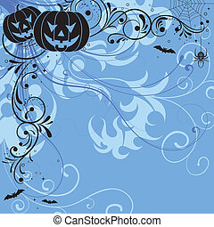 Floral Halloween background - Halloween background with bat,...