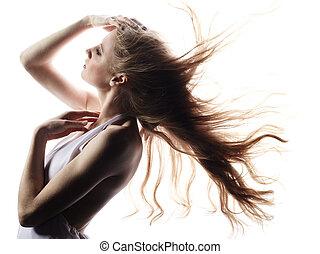 Moda, retrato, joven, elegante, mujer, pelirrojo, pelo
