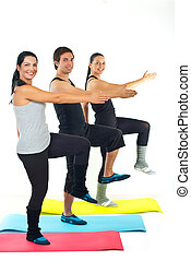 Cheerful sport team workout - Full length of cheerful group...
