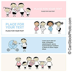 Family with children, banners for your design