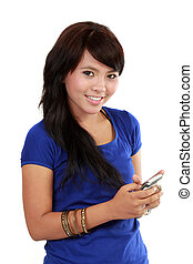 Asian Woman text on her cellphone - Pretty Asian Woman, text...