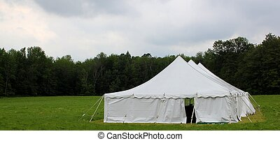wedding tent in the field - white wedding or entertainment...