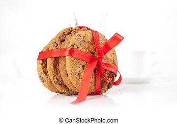chocolate cookies wrapped red ribbon