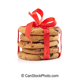 christmas chocolate cookies tied red ribbon - stack of...