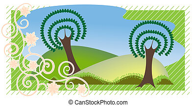 Summer landscape in the decorative