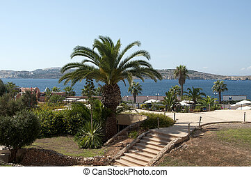 hotel garden with sea view
