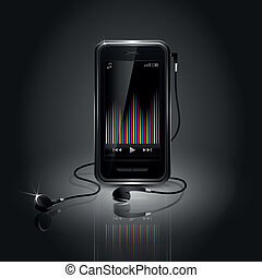 Sleek Mobile Phone Playing Music - Sleek mobile phone...