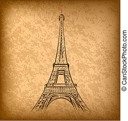 eiffel tower on the old paper