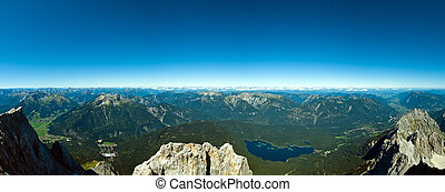 Panoramic View Zugspitze German Austrian Boarder on a sunny...