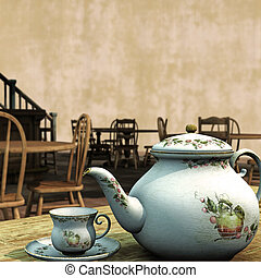 Vintage Tea Rooms 3D Illustration