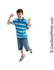 Teen boy prosperity success leap