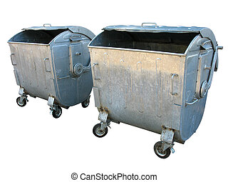 Two old metal garbage trash containers isolated on white