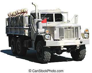 camouflage military truck with soldiers isolated