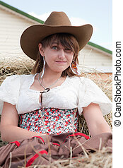 beautiful girl in style of the country