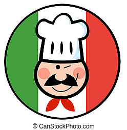 Chef Face Over An Italian Flag - Winking Chef Face Over An...