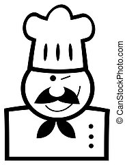 Black And White Winking Chef - Outlined Chef Man Face Black...