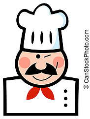 Winking Caucasian Chef - Winked Chef Man Face Cartoon Mascot...