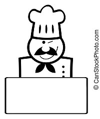 Winking Black And White Chef Banner - Outlined Chef Man Face...
