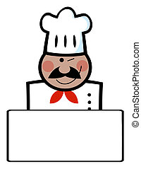 Winking Black Chef Banner - African American Chef Man Face...