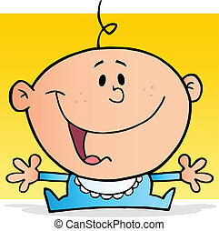 Happy Baby Boy Cartoon Character - Happy Caucasian Baby...