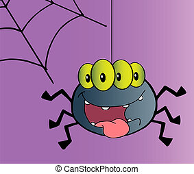 Happy Spider Cartoon Character - Four Eyed Creepy Spider...
